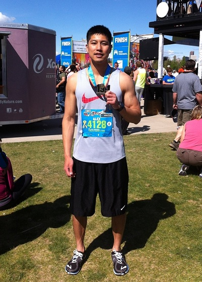 alex le colfax half marathon 2013 with finisher medal
