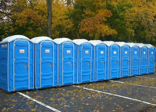 row of porta potty